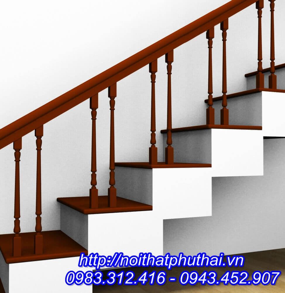 Cầu thang gỗ Lim con tiện kép PT12
