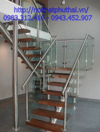 Cầu thang kính inox PT25