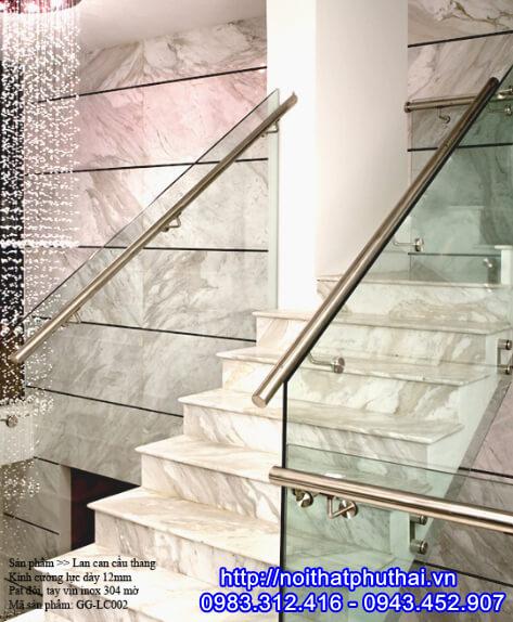 Cầu thang kính pat đôi inox PT7