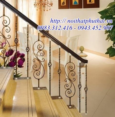 Cầu thang sắt mỹ thuật đẹp PT05