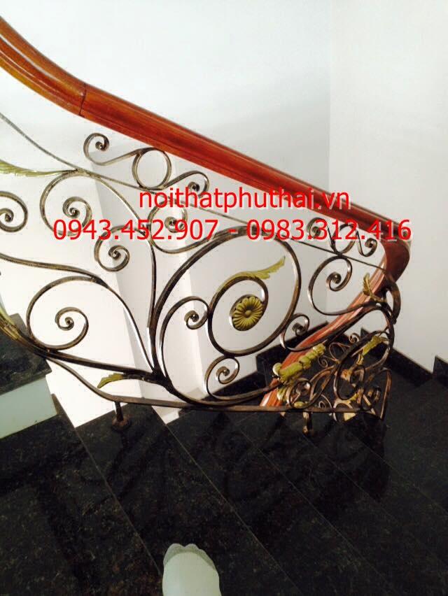 Lan can cầu thang sắt mỹ thuật cao cấp tại TP Bắc Giang