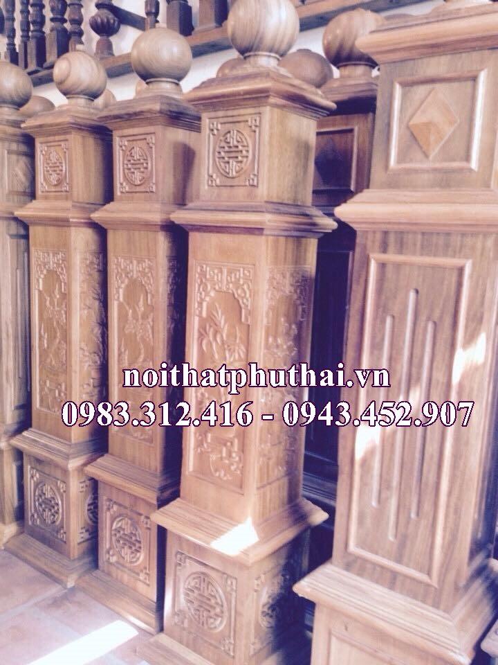 Trụ gỗ cầu thang PT06
