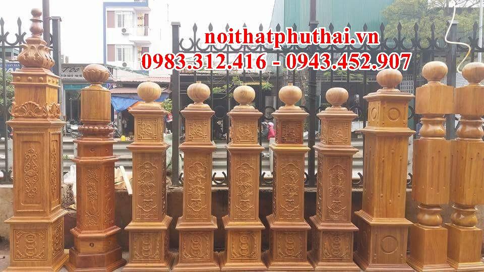 Trụ gỗ cầu thang PT08